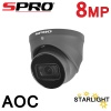 8MP SPRO 4K UHD OUTDOOR AOC AUDIO CAMERA 50M STARTLIGHT GREY DHD80-28RG-50M-M