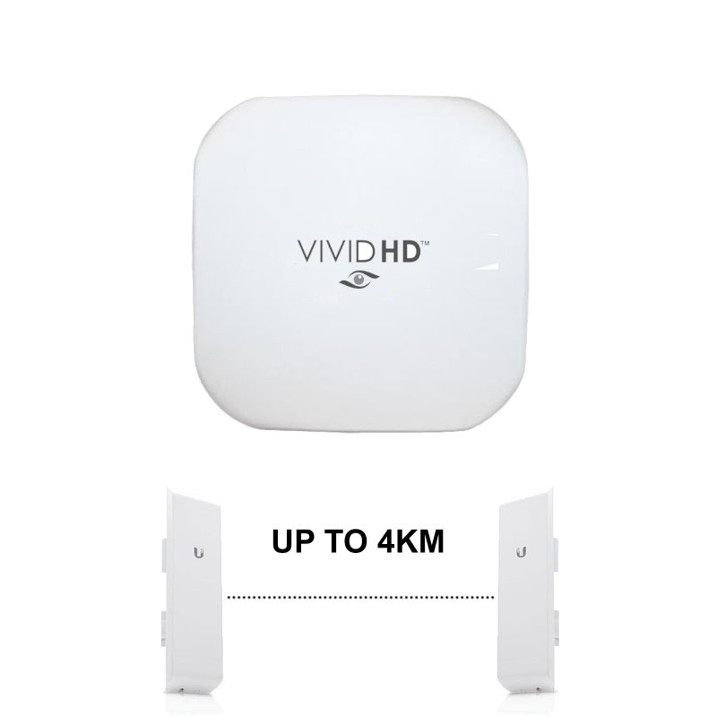 VIVID HD WIRELESS BRIDGE UP TO 4KM FOR IP CAMERAS POE