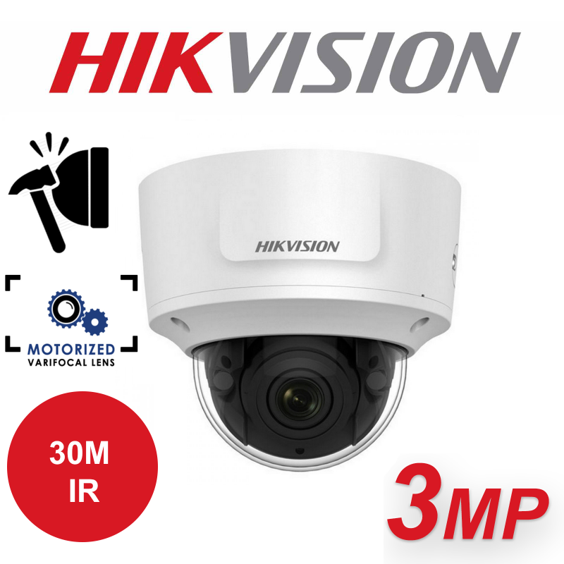 3MP HIKVISION WDR VARIFOCAL IP PoE DOME CAMERA DS-2CD2735FWD-IZS-2.8-12mm