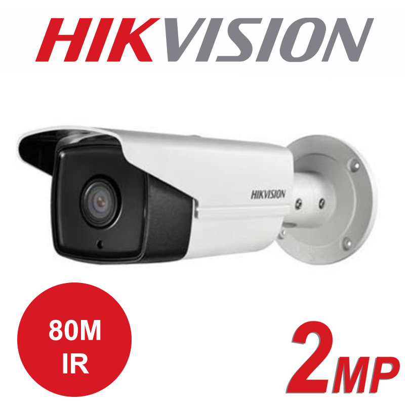 2MP HIKVISION OUTDOOR WDR 80M IR FIXED BULLET IP PoE CAMERA DS-2CD2T23G0-I8 4mm