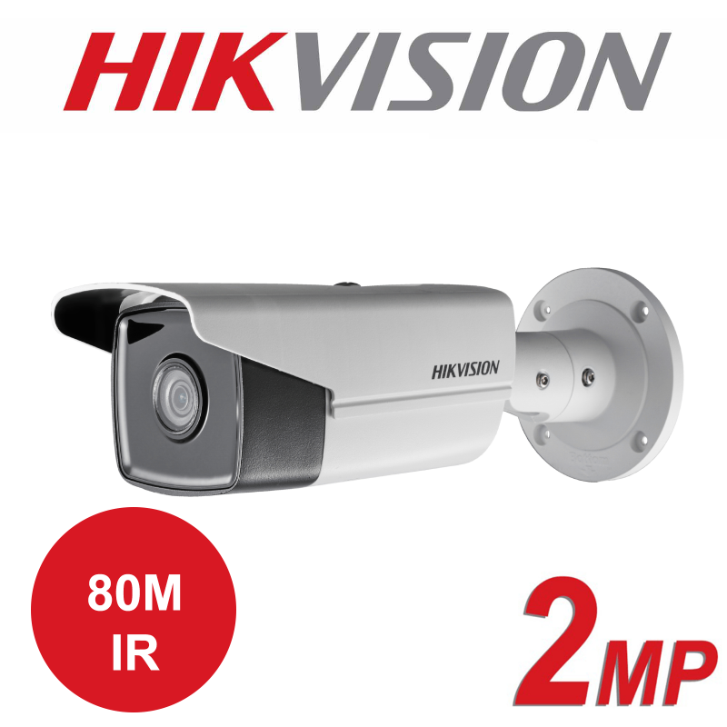 2MP HIKVISION OUTDOOR WDR 80M IR FIXED BULLET IP PoE CAMERA DS-2CD2T23G0-I8 6mm