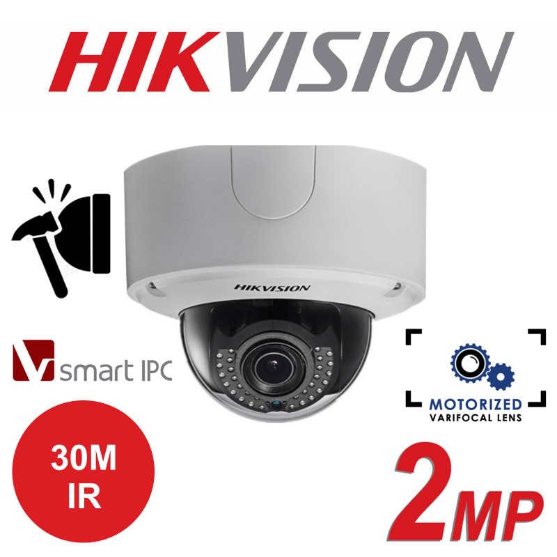 2MP HIKVISION SMART LIGHTFIGHTER IP PoE OUTDOOR DOME CAMERA DS-2CD4525FWD-IZH-2.8MM-12MM
