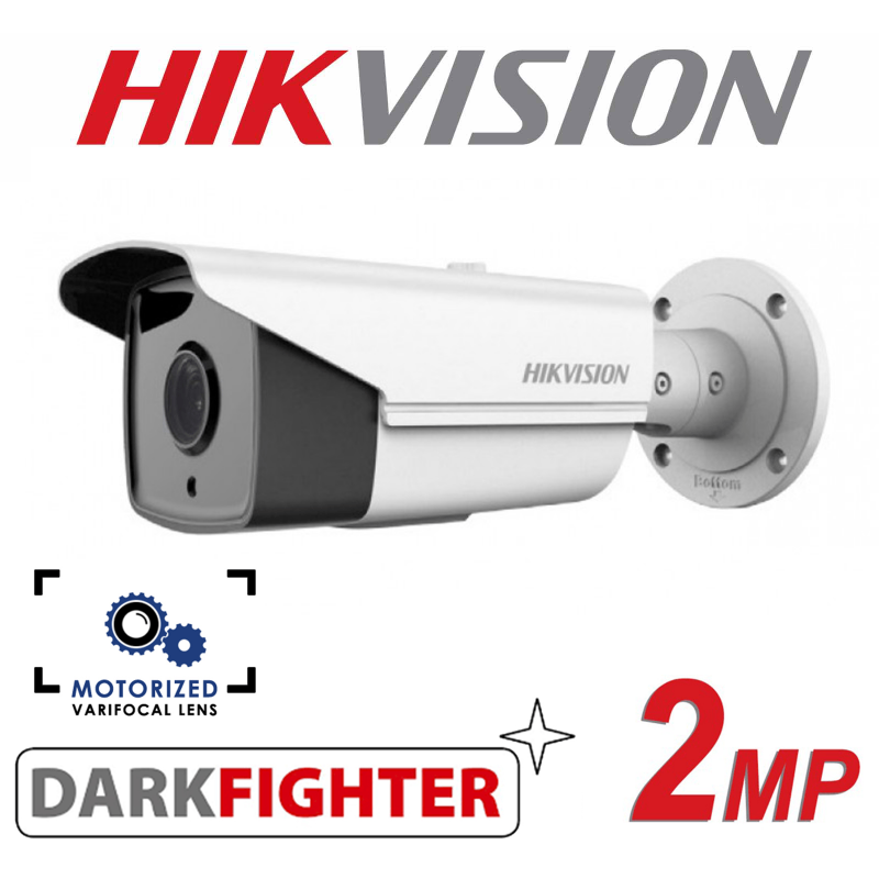 2MP ANPR HIKVISION DARKFIGHTER PoE HD VARIFOCAL 50M IR OUTDOOR BULLET CAMERA DS-2CD4A26FWD-IZHS-2.8-12MM