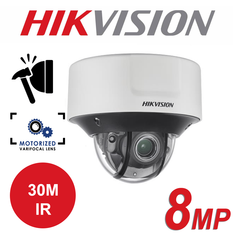 8MP 4K HIKVISION OUTDOOR MOTO VARIFOCAL LENS VANDAL PROOF DOME CAMERA DS-2CD5585G0-IZS 2.8-12mm
