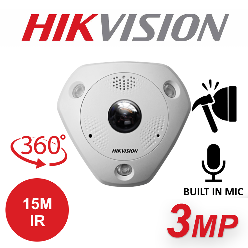 3MP HIKVISION IP POE FISHEYE CAMERA DS-2CD6332FWD-I-1.19MM
