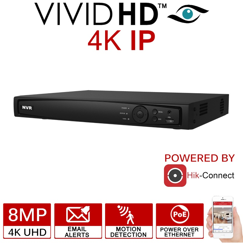 4CH VIVID HD 8MP 4K IP POE NVR HIK-CONNECT APP