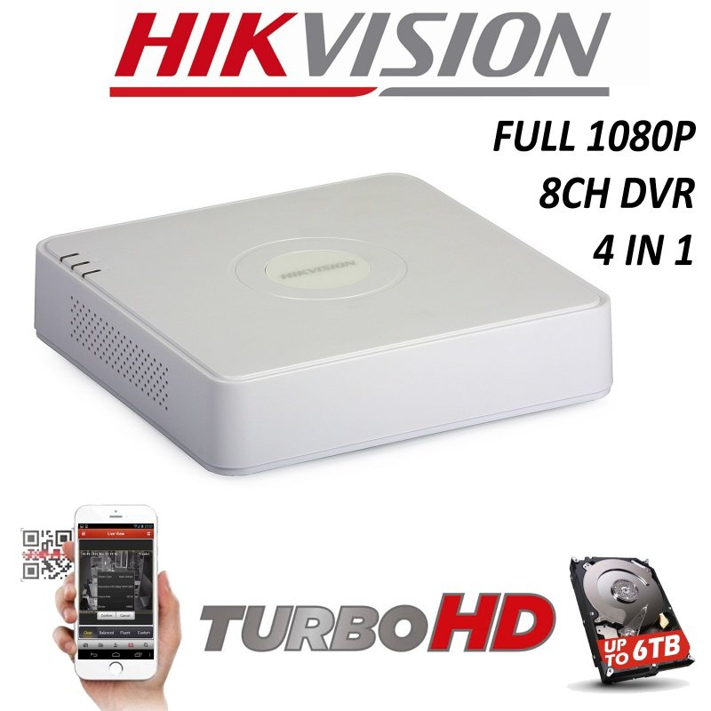 8CH HIKVISION DVR HDMI 4K TURBO 1080P DS-7108HQHI-F1/N