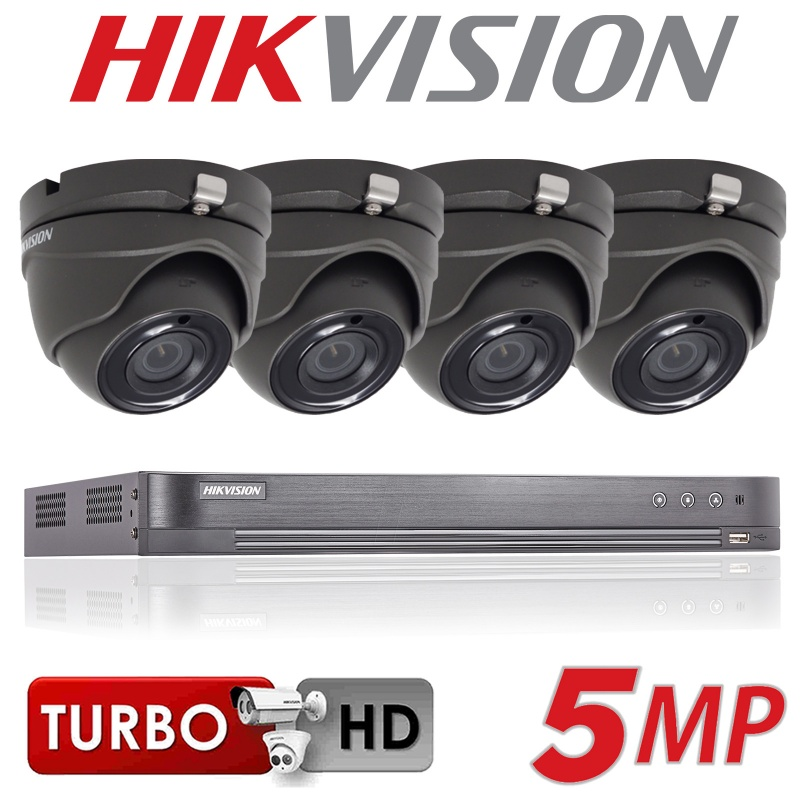4CH HIKVISION 5MP SYSTEM 4K TURBO DVR 2X 3X 4X 20M EXIR CAMERA KIT GREY