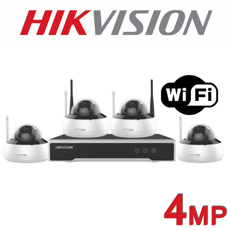 4MP HIKVISION DOME 30M IR WIRELESS WIFI KIT NK44W1H-1T-2.8MM