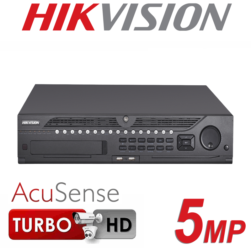 16CH HIKVISION 5MP H.265 2U 8 SATA INTERFACES ACUSENSE TURBO HD HDMI DVR iDS-9016HUHI-K8-16S