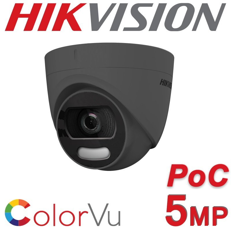5MP HIKVISION POC COLORVU TURRET 2.8MM 24HR COLOUR DS-2CE72HFT-E GREY