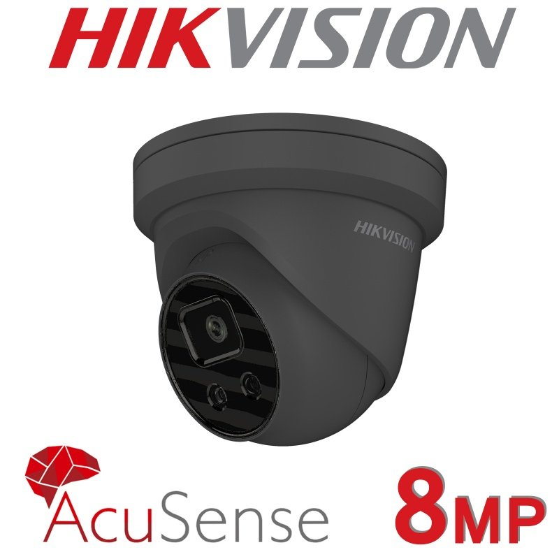 8MP HIKVISION  IP POE DOME ACUSENSE DARKFIGHTER DS-2CD2386G2-I GREY