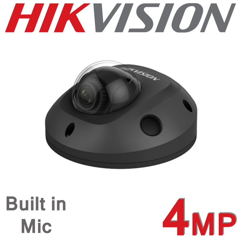 4MP HIKVISION FIXED 2.8MM MINI IP PoE DOME BUILT IN MIC CAMERA GREY DS-2CD2543G0-IS