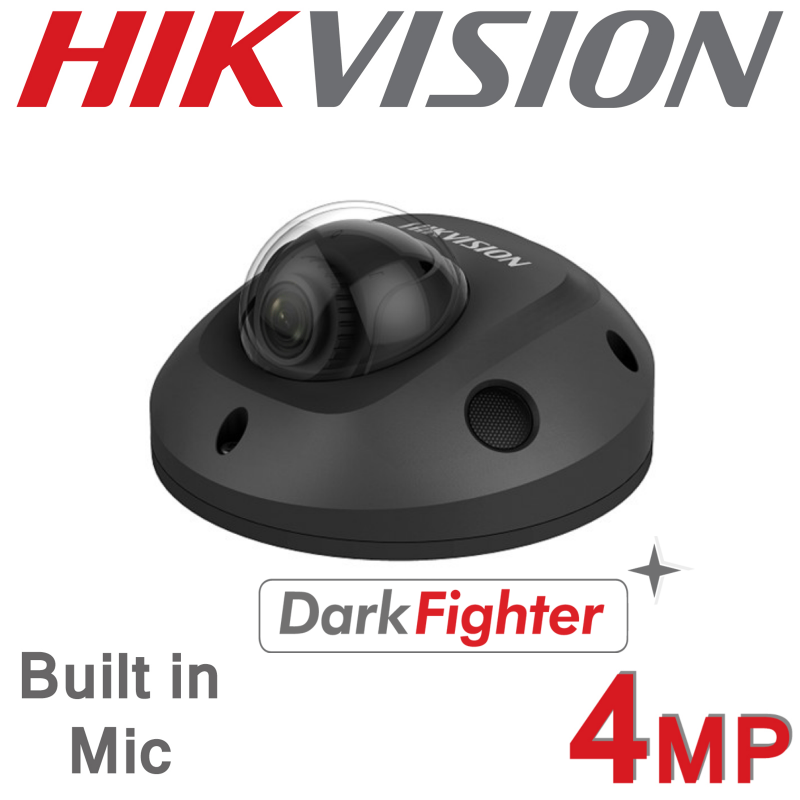 4MP HIKVISION FIXED 2.8MM 20M IR MINI IP PoE DARKFIGHTER DOME BUILT IN MIC CAMERA GREY DS-2CD2545FWD-IS