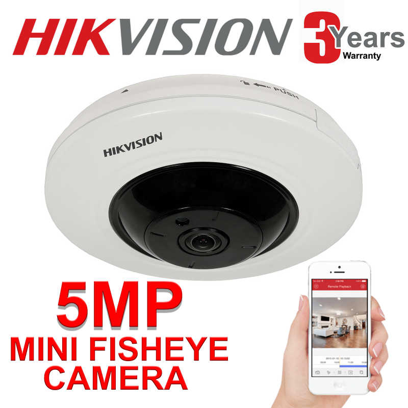 5MP HIKVISION MINI FISHEYE 1.05MM IP POE 8M BUILT IN MIC EXIR DS-2CD2955FWD-IS