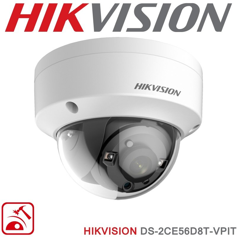 2MP HIKVISION CAMERA VANDAL DOME 1080P OUTDOOR ULTRA LOW LIGHT IN WHITE DS-2CE56D8T-VPIT