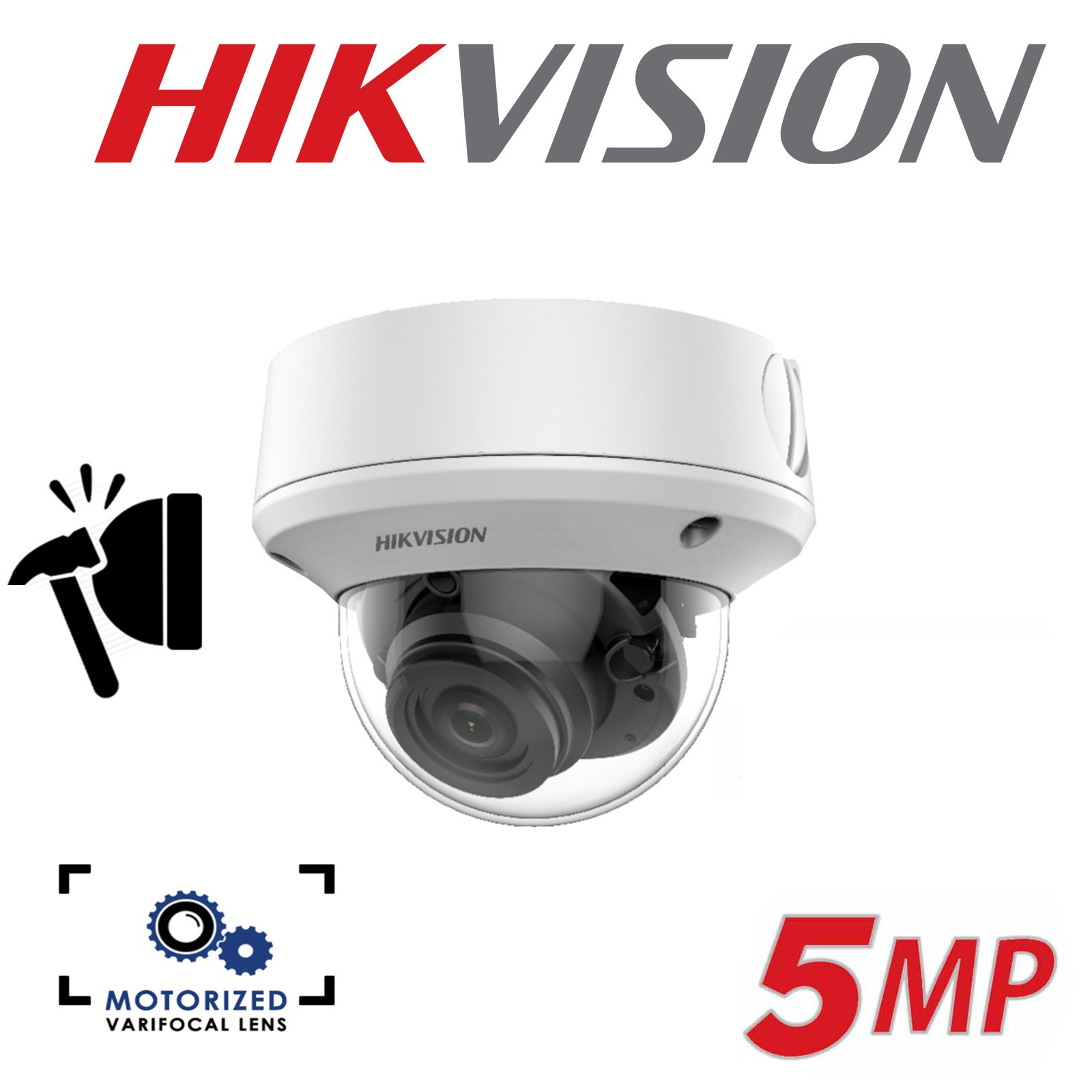5MP HIKVISION ULTRA LOW LIGHT INDOOR MOTORISED VARIFOCAL 2.7-13.5MM DOME CAMERA DS-2CE56H8T-ITZF