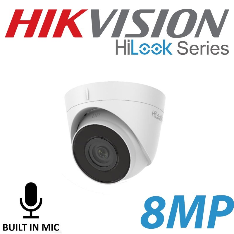 8MP HILOOK IP POE HIKVISION TURRET CAMERA MIC BUILT IN IPC-T280H-UF 2.8MM