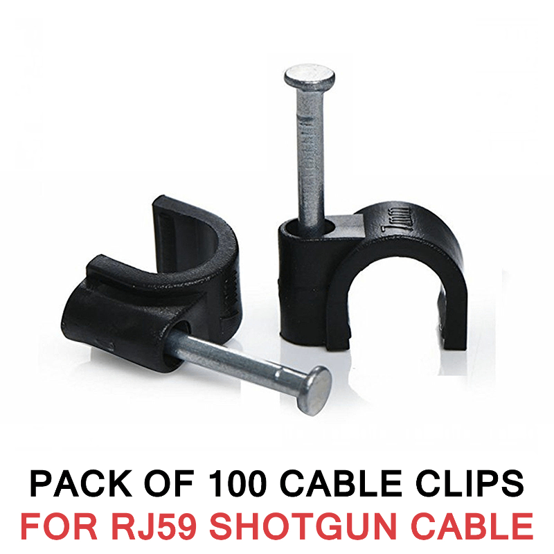 100X CABLE CLIPS WITH NAIL FOR RG59 SHOTGUN CABLE BLACK