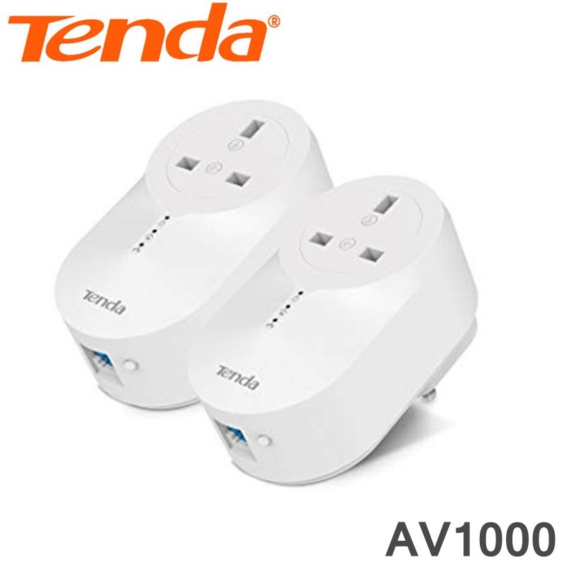Tenda Powerline Adapter Kit AV1000 Wireless Twin Plug Pack PH6