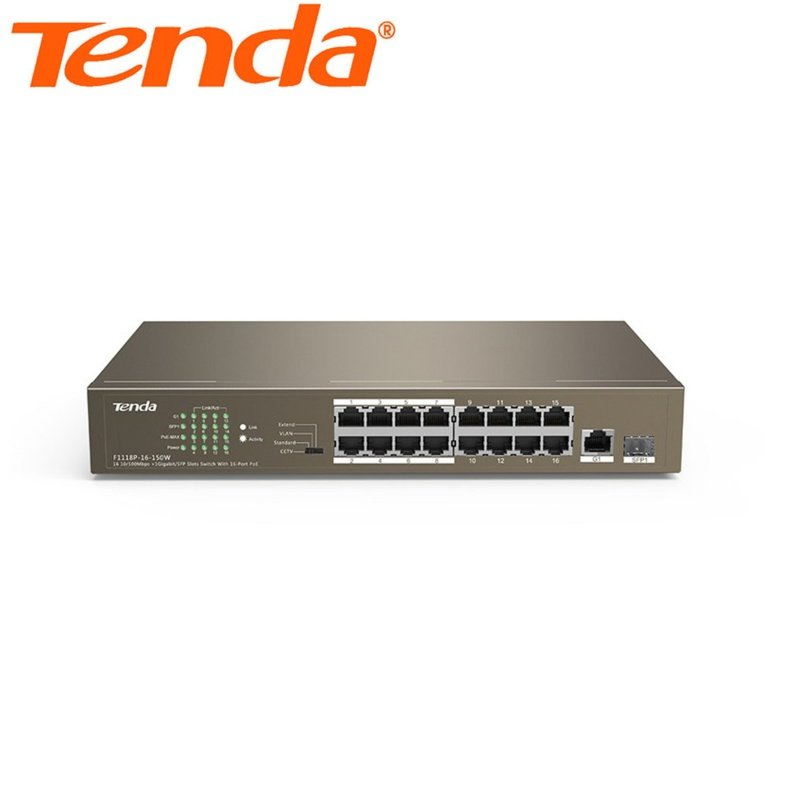 Tenda 16-port 10/100Mbps 16 Port PoE Switch TEF1118P-16-150W